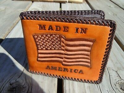 b91a1a8278e4f PATRIOTIC HANDMADE/ HAND-TOOLED Laced Leather Men's Bi-Fold Wallet
