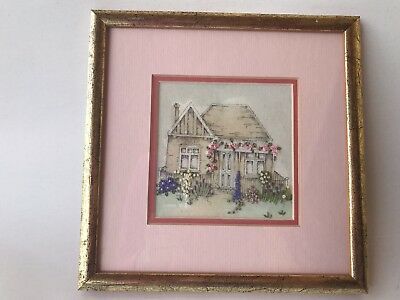 Needlepoint embroidery framed glass matting cloth canvas federation house floral