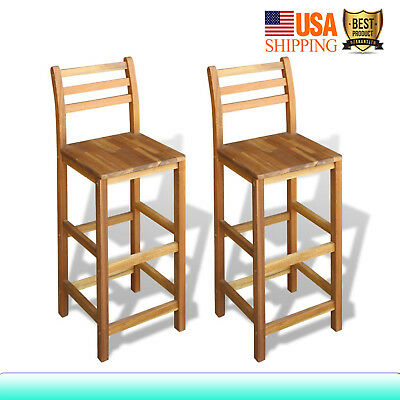 2 PC High Back Bar Stools Home Kitchen Counter Stools Acacia Antique Style Wood