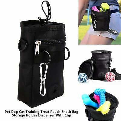 Pet Dog Cat Training Treat Snack Bag Pouch Storage Holder Dispenser With Hook UK