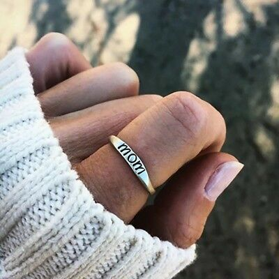 Vintage Alloy Mom Letter Silvery Finger Ring Jewelry Rings for Mother's Day Gift