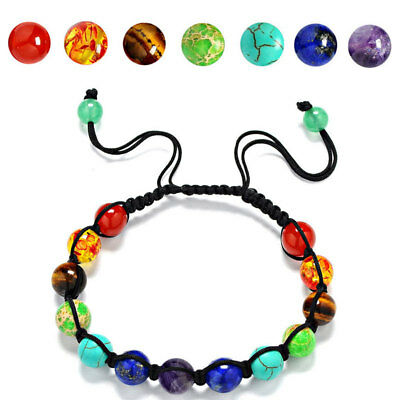 7 Chakra Healing Yoga Reiki Prayer-Stones Balance Beaded Bracelet Braided Bangle