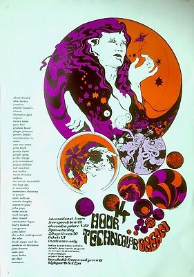 14 Hour Technicolor Dream, Vintage Repro Psychedelic Poster Who Zappa Lennon