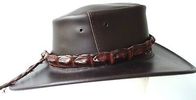 Crocodile Leather HAT BAND One Off High Ridges Brown 79.5 cm  hats extra