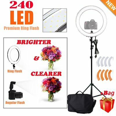 "18"" 240LED Ring Light Dimmable Photo Studio Video Photography Kit+ Carry Bag MX"