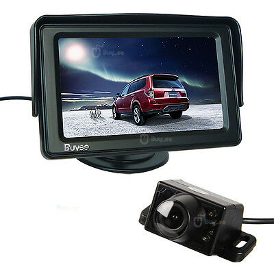 "Car Rear View System Backup Reverse Camera Night Vision + 4.3"" TFT LCD Monitor"