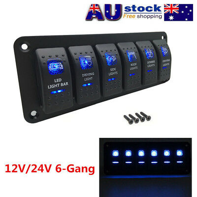 Waterproof 6 Gang 2LED Light Rocker Switch Panel Circuit Breaker 12V Boat Marine