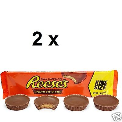 2 x USA Reese's KING SIZE Milk Chocolate Peanut Butter Cup 79g, 4 pcs. each