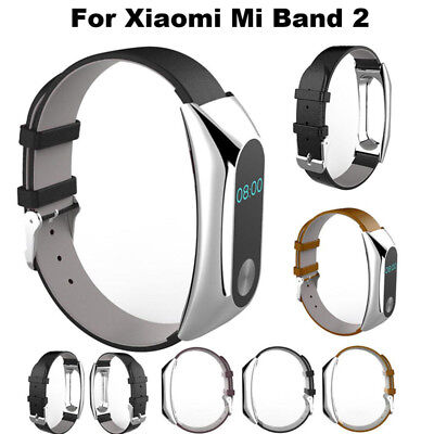 Luxury Leather Replacement Band Strap + Metal Case For Xiaomi Mi Band 2 Bracelet