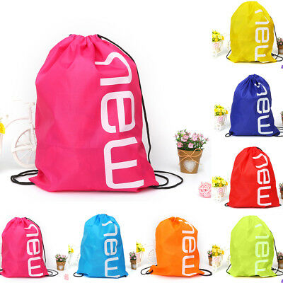 Large Waterproof Drawstring Bag Gym Sport School Swimming Laundry Shoe Backpack