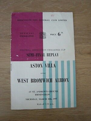 1956/57 Fa Cup Semi-Final : Aston Villa V West Bromwich Albion @ Birmingham City