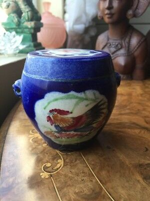 Tiny Vintage Antique Ginger Jar Pottery Marked Rooster