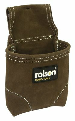 Single Pocket Suede Leather Nail Pouch Tool Belt With Stitched Edges Heavy Duty