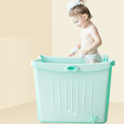 Large Foldable Baby Toddlers Kids Bath Tub Water to Chest Bubble Bathtub