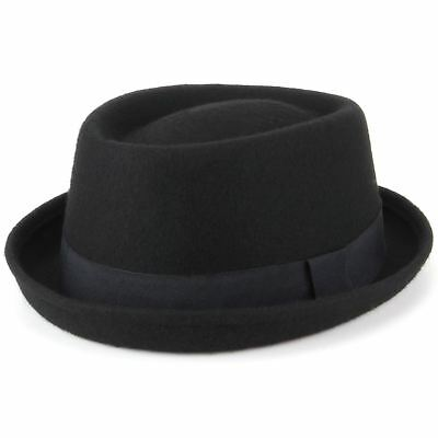 Wool Pork Pie Hat 100 Black Band Brim New Retro Hawkins Winter Round Crown
