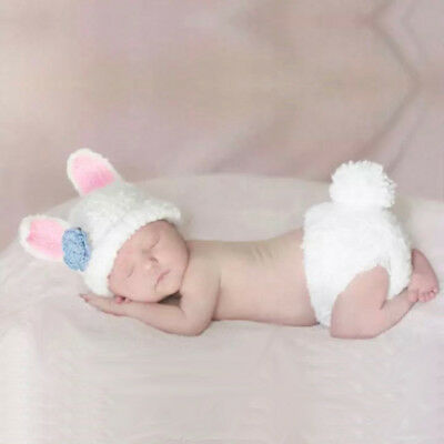 1pc Bunny Baby Girl Boy Newborn Knit Crochet Suits Photo Prop Outfit rabbit #833