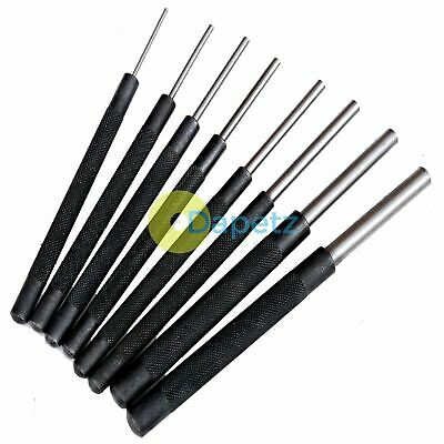 "8 X Long Heavy Duty Parallel Pin Punch Set 3/32""-3/8"" 2-9mm Roll Nail Flat End"