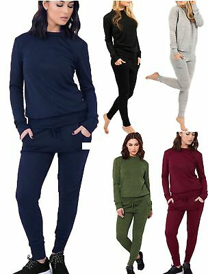 947d3965c196 Womens Plain Two Piece 2 Pocket Set Tracksuit Ladies Long Sleeve Jogging  Suit