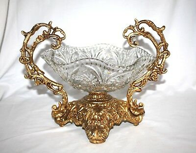 Beautiful Vintage Cut Glass Wave Bowl W/ Ornate Brass Gilded Handles & Base