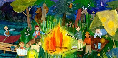 Oopsy Daisy Campfire Kids Stretched Canvas Wall Art by Maria Carluccio, 24 by