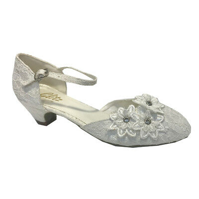 Ivory Lace Bridal Wedding Shoes Low Heel Ankle Strap Embellished Court Shoes