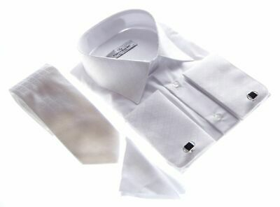 Wedding Shirt White Tie and Handkerchief Men's Men's Shirt Wedding Shirt