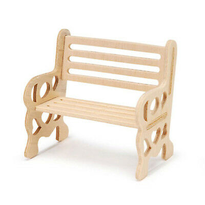 Dollhouse Miniature Natural Wood Economy Lawn Bench