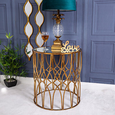 Antique Gold Round Metal Side Table with Mirrored Top Vintage Chic Furniture