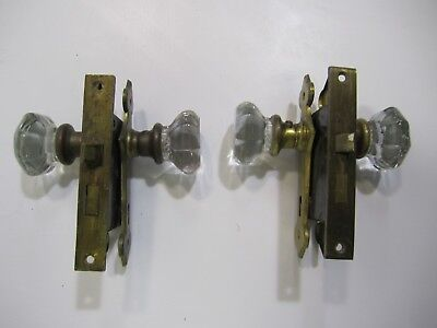 Antique Vintage 2 Pair of Glass Knob & Brass Escutcheon Mortise Lock Door Sets