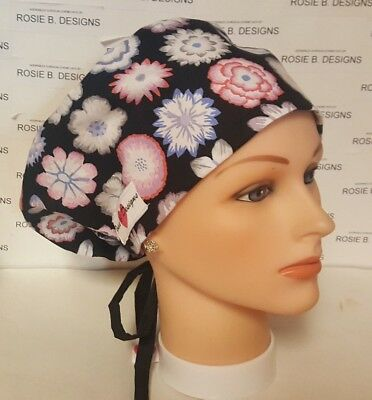 Beautiful Flowers/ Pixie Hat   Scrub / Medical/cap/dr's, Or,rn's, Medical Staff