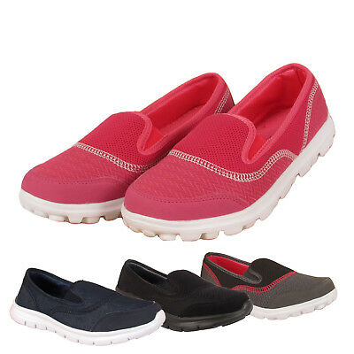 Womens Ladies Slip on Skater Sneaker Pumps Walk Trainers Shoes Size 3 4 5 6 7 8