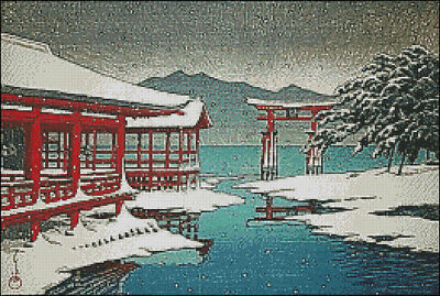 "Goldmilky cross stitch kit /'/'Japanese Miyajima by Stream in Winter /""-c30"