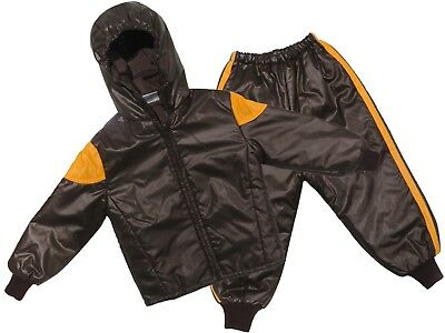 Childs Waterproof Jacket & Trousers Rainsuit Kids Childrens Boys Brown 18M-2YRS