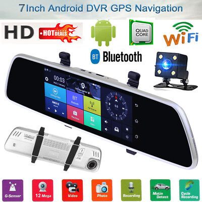 "HD 7"" Android 5.0 Car Rear View Mirror Navi GPS 1080P DVR Wifi 4G Backup Camera"