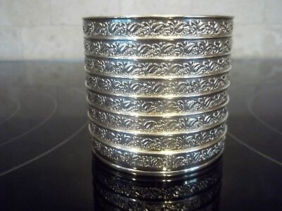 Vintage Sterling Rare Repousse Webster Coaster Set of 8 Pattern #6505