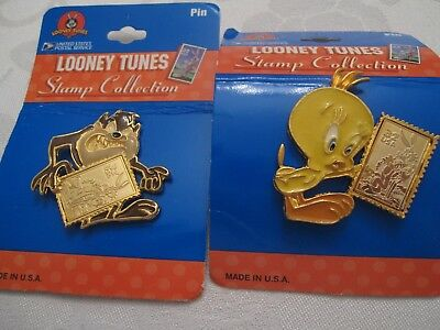 New!!two Looney Tunes Pins Usps Stamp Collection Tweety Bird And Tasmanian Devil