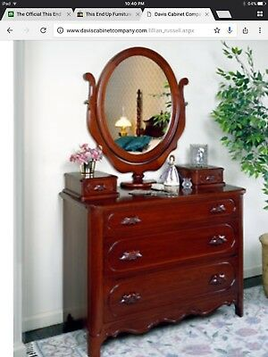 DAVIS CABINET Lillian Russell Rare Walnut Chest w/ Mirror