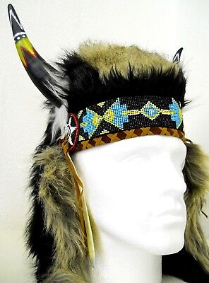 Amazing Quality Traditional Indian Chief Head Hat with horns One Size Costume