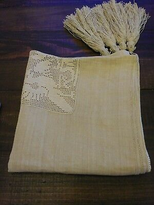 "Vintage Fillet Crochet Linen Tablecloth.35""X35"" New Condition,never used."