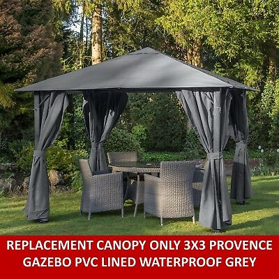 Gazebo Replacement Canopy Only For Provence 3X3 Mtr Gazebo Grey Fullywaterproof