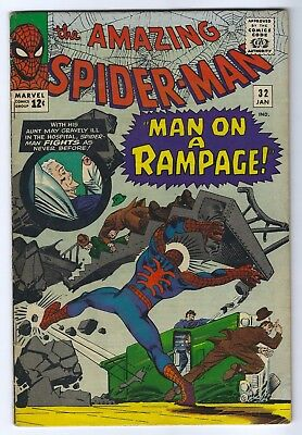 The Amazing Spider-Man #32 Jan 1966, Marvel Steve Ditko Silver Age Comic 5.5 FN-