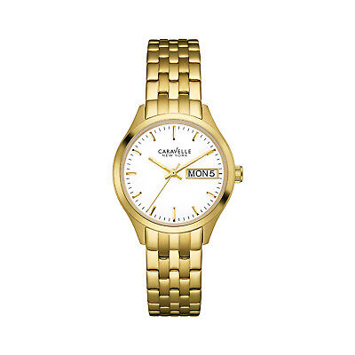 Caravelle New York Women's 44N107 Quartz White Date Dial Gold-Tone 30.5mm Watch