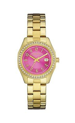 Caravelle New York Women's 44M107 Quartz Crystal Pink Dial Gold-Tone 28mm Watch