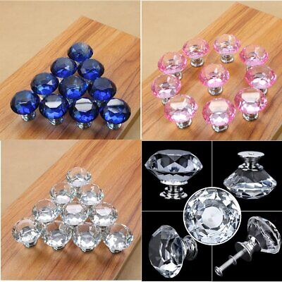 Crystal Door Knob Cabinet Furniture Drawer Cupboard Pull Handle Pink Blue Clear