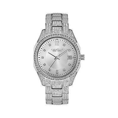 Caravelle New York Women's 43M112 Quartz Crystal Accent Silver-Tone 36mm Watch