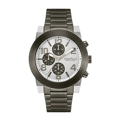 Caravelle New York Men's 45A127 Quartz Silver Chronograph Gunmetal 44mm Watch