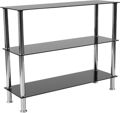 Contemporary Black Tempered Glass Storage Shelves with Stainless Steel Frame
