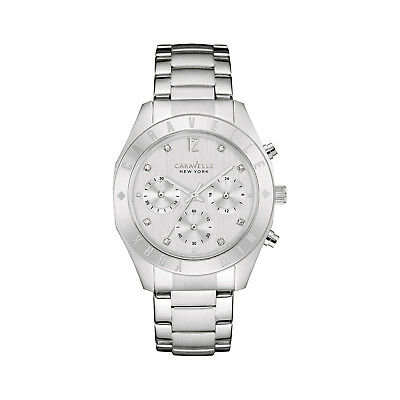 Caravelle Women's 43L190 Quartz Crystal Chronograph Silver-Tone 36mm Watch
