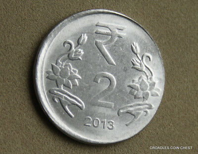 Good Off Centre Misstrike India 2 Rupee 2013 Circulated World Coin  #jaah1