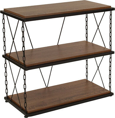 Antique Wood Grain Finish Two Shelf Bookshelf with Chain Accent Metal Frame